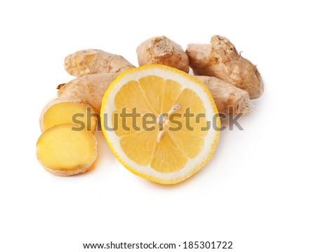 ginger with lemon isolated on white background  - stock photo