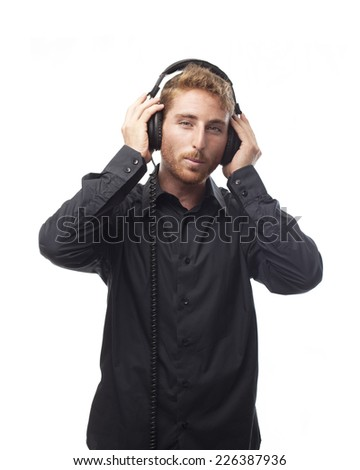 ginger young man with shirt with headphones
