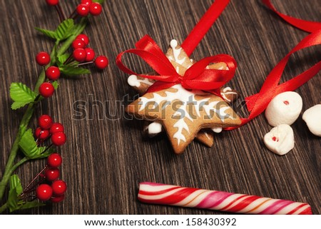 Gingerbread Christmas cookies with red ribbon