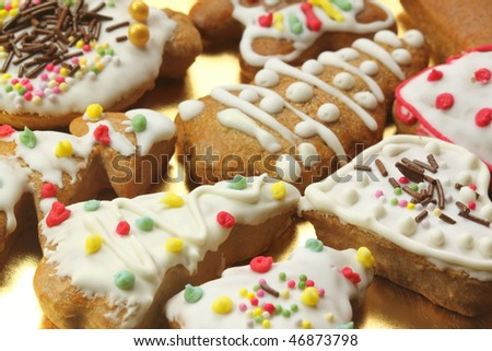 Gingerbread colorful decorated cookies - Christmas trees and hearts - stock photo