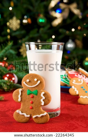Gingerbread cookies and milk - stock photo