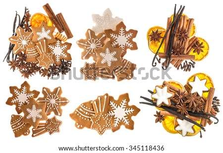 Gingerbread cookies and spices isolated on white background. Christmas sweet food ingredients. Cinnamon sticks, star anise, vanilla and cloves - stock photo