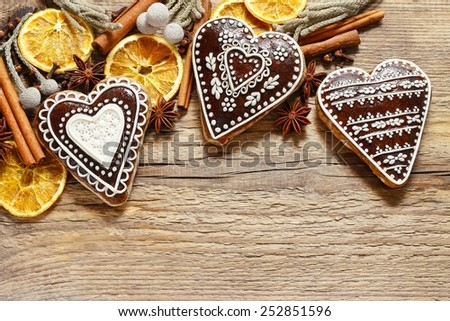 Gingerbread cookies in heart shape - stock photo