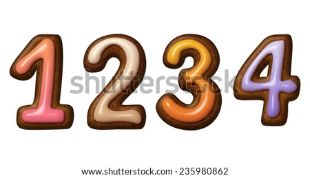 gingerbread cookies numbers decorated with colorful icing, illustration isolated on white background - stock photo