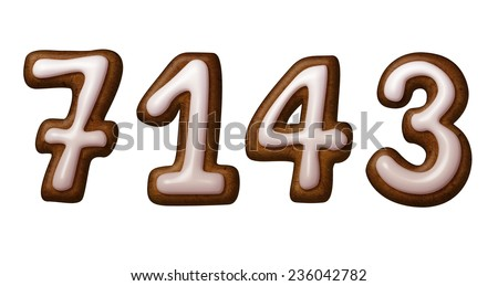 gingerbread cookies numbers decorated with sugar icing, illustration isolated on white background