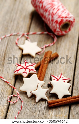 Gingerbread cookies on a grey wooden table