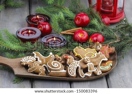 Gingerbread cookies on christmas eve table. Closeup. - stock photo
