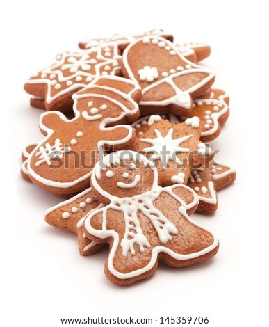 Gingerbread cookies on white background. - stock photo