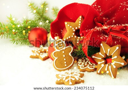 Gingerbread cookies with Christmas decoration.  - stock photo