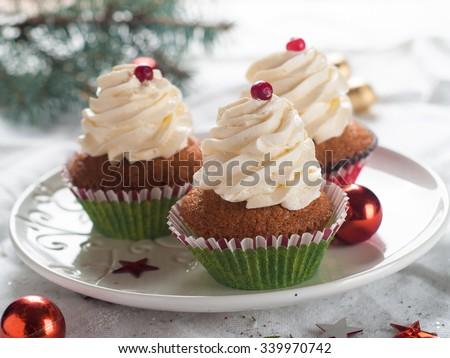 Gingerbread cupcake with christmas decoraton, selective focus - stock photo