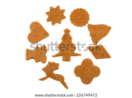 Gingerbread dough for Christmas cookies  on a white background - stock photo