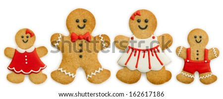Gingerbread family - stock photo