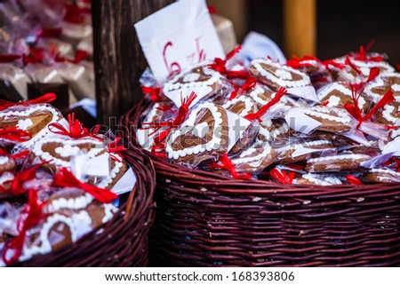 Gingerbread hanging at the christmas market in Poland - stock photo