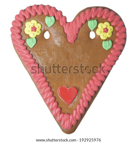 Gingerbread heart German october fest copy space isolated without text - stock photo
