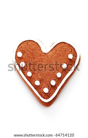 gingerbread heart on white background - sweet food - stock photo