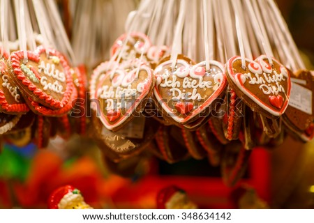 Gingerbread Hearts at German Christmas Market. Nuremberg, Munich, Fulda xmas market in Germany. - stock photo