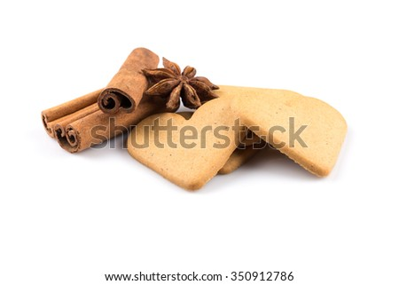 Gingerbread hearts cookies on white background. Christmas decoration - stock photo