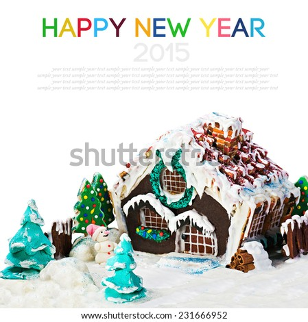 gingerbread house and candy for the holiday merry christmas on white background - stock photo