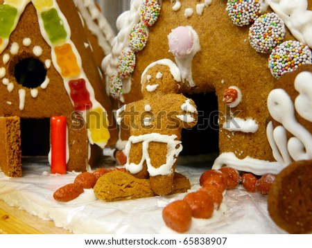 Gingerbread house and males - stock photo
