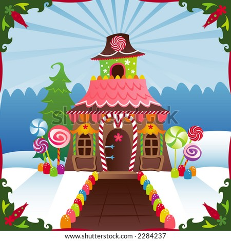 Gingerbread House in the winter, decorated with candy ... great image for Holidays - stock photo