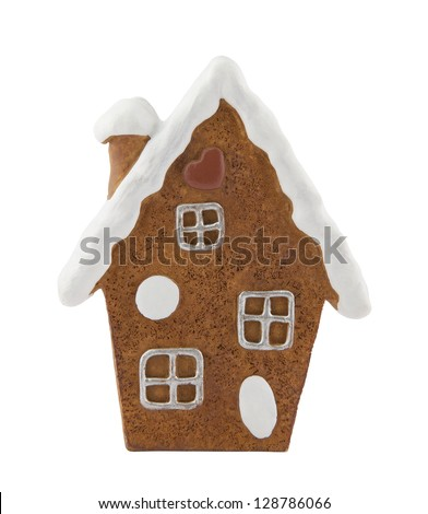 Gingerbread house with clipping path - stock photo