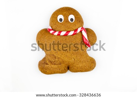 Gingerbread man against white background