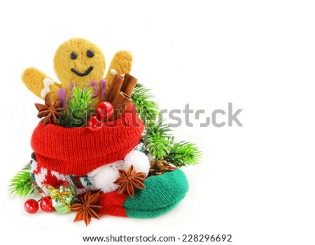 gingerbread man and Christmas spices in knitting socks on a white background - stock photo