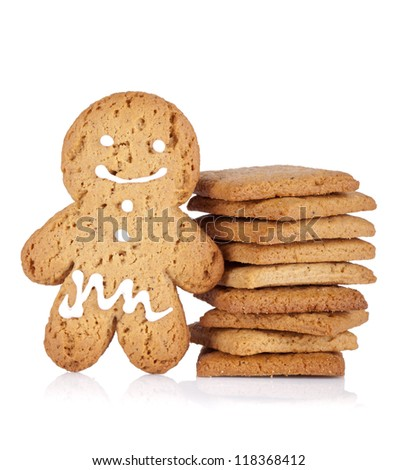 Gingerbread man and cookies. Isolated on white background
