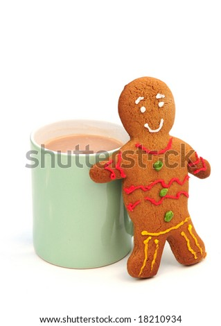 Gingerbread man and cup of tea