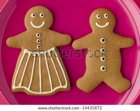 Gingerbread Man and Gingerbread Woman - stock photo