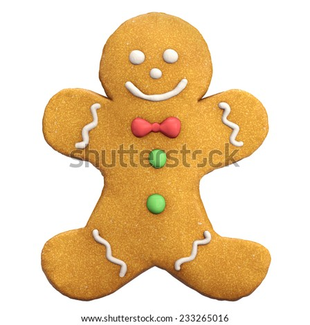 Gingerbread man Christmas and New Year cookie icon isolated on white. - stock photo