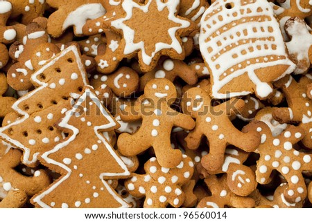 Gingerbread Man, Christmas tree, Star and Bell
