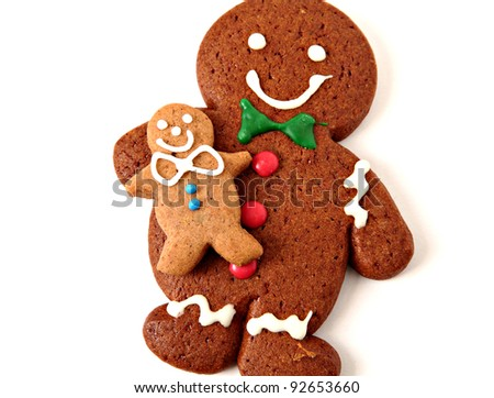Gingerbread man cookies on white background