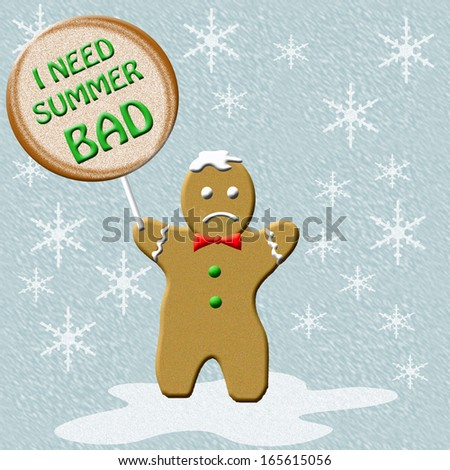 gingerbread man holding a cookie sign illustration - stock photo
