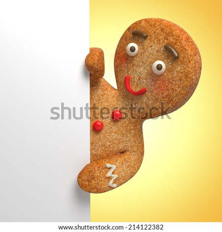 gingerbread man holding white page, blank banner template, 3d cartoon character illustration - stock photo