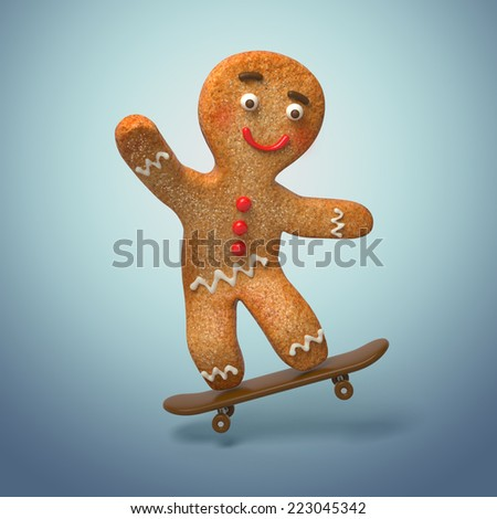 gingerbread man skating, 3d cookie cartoon character illustration - stock photo