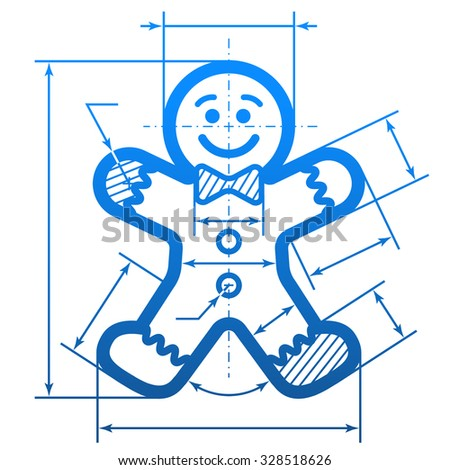 Gingerbread man with dimension lines. Element of blueprint drawing in shape of holiday cookie. Illustration for new year's day, christmas, decoration, winter holiday, design, new year's eve, etc