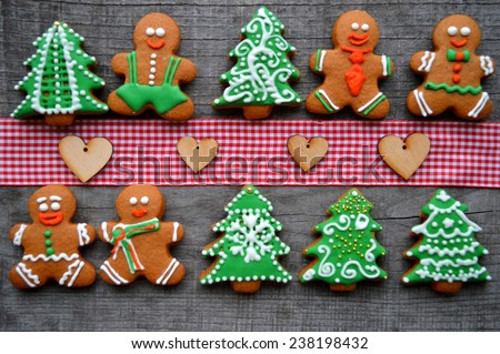 gingerbread men, ginger Christmas tree, Christmas decorations - stock photo