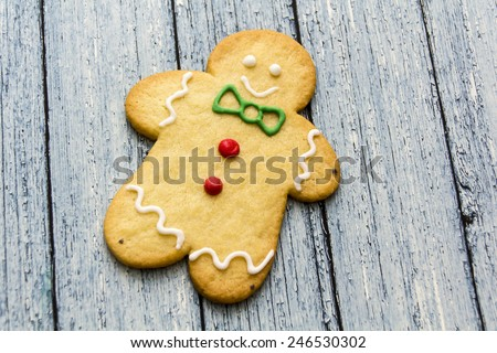 Gingerbread on wood - stock photo