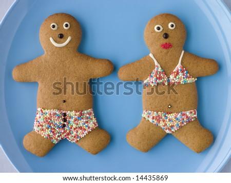Gingerbread People with Sugar Candy Swimwear - stock photo
