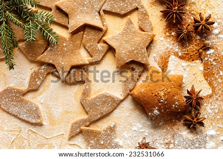 Gingerbread stars. Christmas cookies. Fresh dough for gingerbread - stock photo