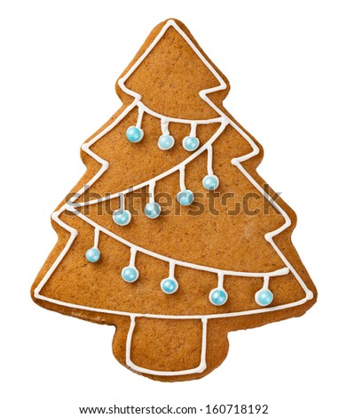 Gingerbread tree isolated on white background. Christmas cookie - stock photo