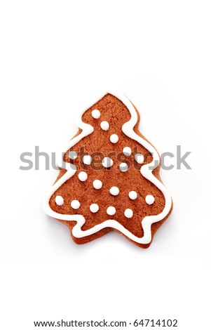 gingerbread tree on white background - sweet food - stock photo