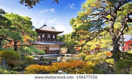 Ginkaku-ji Temple in Kyoto, Japan during the fall season. - stock photo