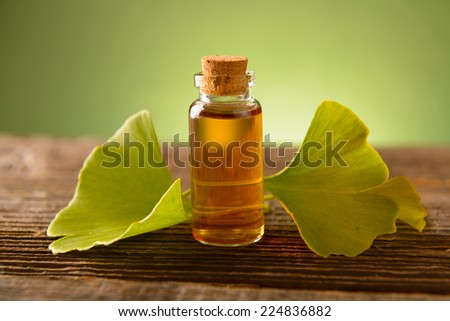 Ginkgo essential extract in a bottle and fresh leaves - stock photo