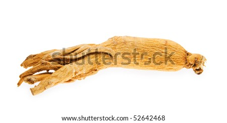 Ginseng root lies horizontal on white background