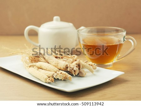 Ginseng tea ,Dry ginseng roots,Concept of healthy drink - vintage filter.
