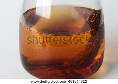 Ginseng tea in a glass jug, The concept of healthy drink