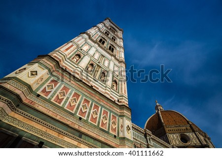 Giotto's Bell Tower in the Piazza del Duomo in Florence, Italy
