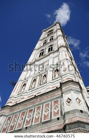 Giotto's Campanile - bell tower of famous Basilica di Santa Maria del Fiore, cathedral church of Florence in Italy